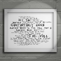 Noir Paranoiac PINK FLOYD Art Print Typography Lyrics Poster - Signed & Numbered Limited Edition Unframed 10x8 Inch Album Wall Art Poster