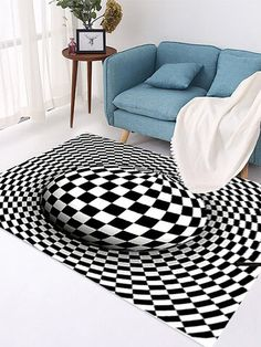 I found this amazing Round Carpet, Checkered Vortexs Optical Illusions Non Slip Area Rug, Durbale Anti-Slip Floor Mat Non-Woven Black White Doormat, for Living Dinning Room Bedroom Kitchen with AU$12.99,and 14 days return or refund guarantee protect to us. --Newchic Living Room Carpet, Living Room Bedroom, Home Carpet, Optical Illusions, Floor Rugs, Area Rugs, Kids Rugs, Flooring, Black And White