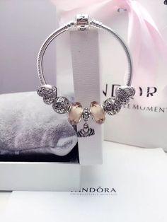 50% OFF!!! $199 Pandora Charm Bracelet Pink. Hot Sale!!! SKU: CB01787 - PANDORA Bracelet Ideas