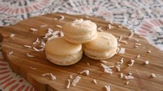 How to Make Coconut French Macarons NO ALMOND FLOUR | sweetco0kiepie  Ingredients: - 1 cup powdered sugar - 3/4 cup coconut flour - 2 egg whites - 1/4 cup sugar  Cream Cheese Whipped Frosting: -4 oz softened cream cheese -1 cup powdered sugar -2/3 cup heavy whipping cream -1/2 tsp vanilla extract Directions: Beat heavy whipping cream in a separate bowl until soft peaks form. In a seperate bowl, beat cream cheese with powdered sugar until fluffy. Beat in whipped cream and vanilla.