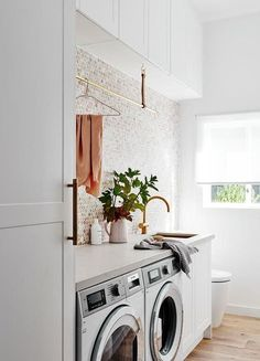 home inspiration Inside the gorgeous Scandi home of norsu Co-founder Nat Wheeler Laundry Decor, Laundry Room Organization, Laundry Room Design, Laundry In Bathroom, Laundry Closet, Laundry Shop, Modern Laundry Rooms, Laundry Room Layouts, Laundry Room Remodel