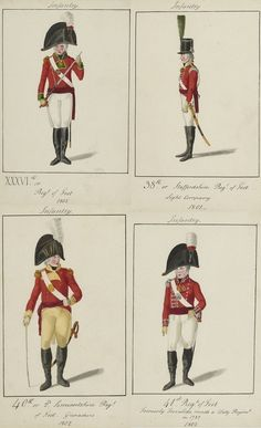 Bottom left- 40th  (2nd Somersetshire) Regiment of Foot- 1st  Battalion on the American coast from January to March 1815. At New Orleans but not engaged. Pale buff facings, gold buttons for officers, no lace. Men's lace square ended with a red and black line. When they sailed for North America, the 40th received militia knapsacks, which they had no time to  modify or repaint.