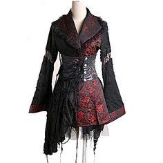 Kimono Gótico Rojo y Negro