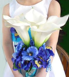 Tiffany Blue Calla Lilly Bouquet by OnceUponTimeWEdding on Etsy