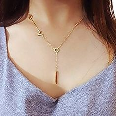 "Womens ""Love"" Gold Plated Y Drop Bar Pendant Necklace 16""+2"" Adjustable Chain"