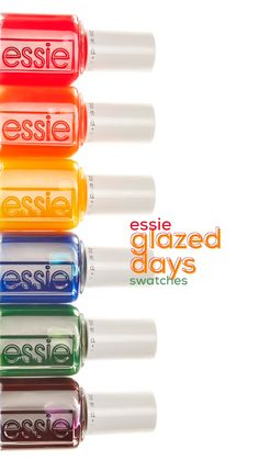swatching the new essie glazed days nail polish collection. this rainbow of limi nails videos Pretty Nail Colors, Pretty Nails, Nail Polish Combinations, Jelly Nails, Bulletins, Essie Nail Polish, Nail Envy, Nail Polish Collection, Stylish Nails