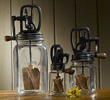 Glass Butter Churns...perfect for a prim kitchen.