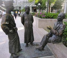 Singapore Sculpture - 3 Men Bronze Sculpture, Public Art, Three Dimensional, Singapore, Mystery, Modern, Image, Awesome Stuff, Style