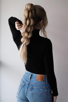 Unique Braided Ponytail Hair Tutorial GUYS, how cool is this braid? 😍🙌🏻 Full hair tutorial is now li Unique Braided Hairstyles, Braided Hairstyles Tutorials, Casual Hairstyles, Cool Hairstyles, Hairstyle Ideas, Hairstyles 2016, Evening Hairstyles, Unique Braids, Curly Braided Hair