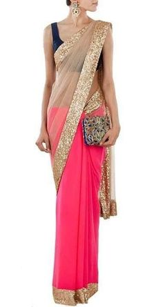 Neon pink with nude net sari by MANISH MALHOTRA.