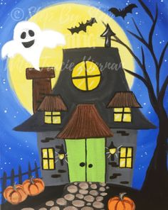 Halloween Canvas Paintings, Canvas Painting Designs, Fall Canvas Painting, Canvas Painting Tutorials, Halloween Painting, Halloween Drawings, Autumn Painting, Halloween Themes, Halloween Crafts