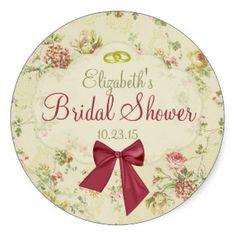 Vintage Floral- Bridal Shower Round Sticker