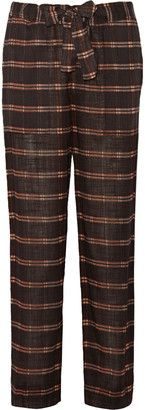 Étoile Isabel Marant Vernon plaid cotton straight-leg pants - Shop for women's Pants - Brown Pants