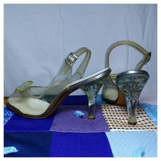 Vintage 1950's Johnsonette Combination Last Carved Lucite & Plastic Heels Burlesque Pinup Stilettos Peeptoe Slingback Rhinestone 8 1/2 8.5 by PunkHippieFunkShop on Etsy