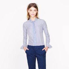 Thomas Mason® for J.Crew stripe perfect shirt  size: 00  color: navy bistripe