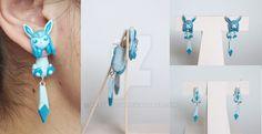 Glaceon Eeveelution Pokemon Earrings by ArtzieRush