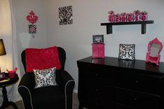 Gracie Collection Damask Print  Hot Pink, White and Black - Damask name blocks - nursery decoration - baby name blocks