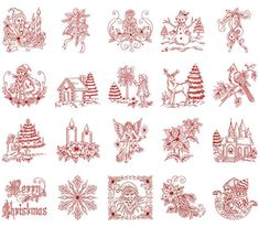 Free Christmas Redwork Embroidery Designs | Vintage Christmas Embroidery Design Collection