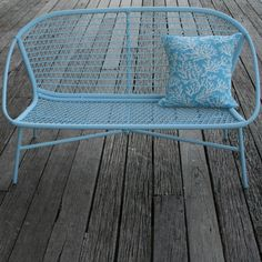 Pretty retro garden bench in  pastel colours.  Great for a small space - keeps it  looking light and airy.   @ www.petiteretreat.com.au  Available from Petite Retreat Outdoor Furniture Sydney, Australia