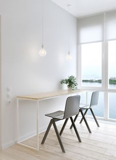 Interior, Simple White Table White Stained Color Framework Simple Design Hanging…