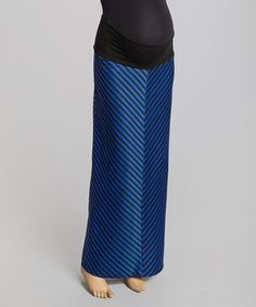 Blue Chevron Maternity Maxi Skirt - Women #zulily #zulilyfinds