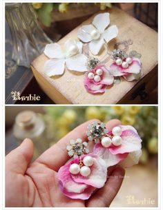 【Barbie】韓國進口 生如夏花 日本單鑽飾棉珍珠花瓣層疊耳釘耳環-淘宝网全球站