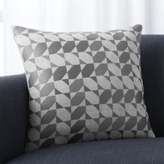 "Shop Genton Grey 18"" Pillow.  William Nicholson's Genton pillow abstracts calligraphic kufic tiles, often found in Persian interiors, in a modern direction."