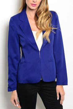 """This woven blazer features long sleeves, slitted lapel and single button closure.    Description: L: 26"""" B: 18"""" W: 18""""   Royal Jacket by Pink Owl Apparel . Clothing - Jackets, Coats & Blazers - Jackets Canada"""