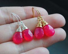 Pink Turquoise Earrings Hot Pink Chalcedony by JewelryBySonjaBlume
