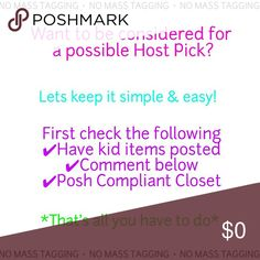 Everything Kids Party Let's keep it simple and easy! If you want to be considered for a Host Pick and you have kids items listed plus a Posh Compliance closet then just comment here. You can comment anything even just your name if you want. I will pick most of my Host Picks from here. NO MASS TAGGING PLEASE! One Pieces