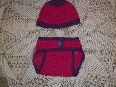 100% cotton infant diaper cover and matching hat. Newborn- 3 month size.