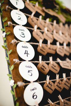 Rustic wedding escort card display using kraft paper, moss and miniature clothespins.