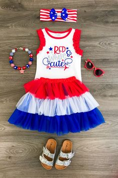 """These+dresses+are+simply+stunning+and+perfect+for+the+4th+Of+July!++Darling+tank+top+with+""""Red,+White+&+Cute""""+written++on+the+front+with+a+red,+white+and+blue+tutu+skirt.+Dressy+enough+for+any+event,+photo+shoot,+but+still+comfy+enough+for+everyday+wear!+This+is+a+must+have+for+any+princesses+war..."""