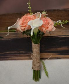 Rustic Bridesmaids Bouquet Light Coral Champagne by MrhanDesign