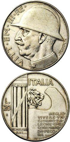N♡T.Italy (Kingdom), 20 lire, Vittorio Emmanuel III, 1928-R (AN VI), WWI commemorative. KM-70. 19.95 grams.