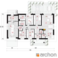 Dom w peperomiach 4 Modern House Design, Floor Plans, How To Plan, Architecture, Plane, Projects, Airplane, Airplanes, Modern Home Design