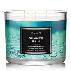 Fill your home with the sweet aroma that is AVON's Summer Rain Candle. Enjoy notes of sea salt water moss musk and driftwood with this mood enhancing candle. Shop one now. Fall Candles, 3 Wick Candles, Scented Candles, Candle Jars, Candle Shop, Perfume, Summer Rain, Home Scents, Burning Candle