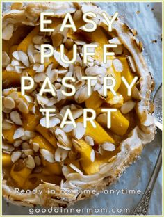 Easy Puff Pastry Tart is easy, pretty and delicious. Make with peaches, apples, or pears, anytime of year. This recipe is easy enough for beginners and impressive enough for experts. Ready in no time. #recipes #puffpastry #fruit #tarts #holidays #baking