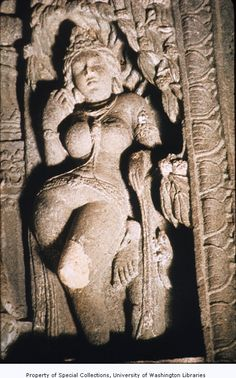 Close up of tree goddess or Yakshi from upper-left portion of Ajanta Cave #4 doorway, Maharashtra, India, ca. 5th-7th century A.D.