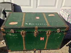 green antique steamer trunk, interior tray, flower print int ...