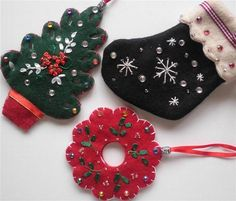 machine cut shapes, but I like the decorating. Felt Christmas Ornament Set by NeedleCraftNook