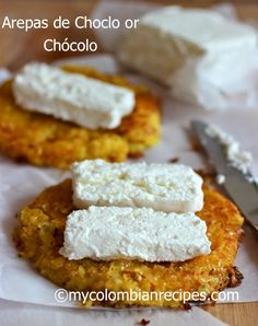 Arepas- de Choclo (sweet) (vegan- butter and cheese)