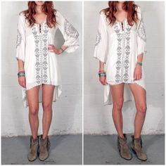 NWT Bohemian Boho Embroidered Hi/Lo Dress XS/S By Trendology. Bohemian Embroidered Dress  -3/4 Sleeve w/Embroidered detail (Lined)  Size: XS/S Dresses High Low