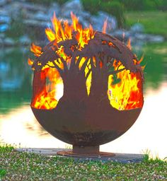 Tree of Life Hand Cut Steel Fire Pit - Sculptural Sphere fire pits welded Tree of Life Fire Pit Sphere - Hand Cut Steel Sculptural Firepit Foyers, Fire Pit Sphere, Steel Fire Pit, Fire Pits, Importance Of Trees, Fire Pit Gallery, Custom Fire Pit, Fire Pit Materials, Les Continents