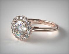 14K Rose Gold Floral Halo Engagement Ring