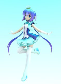 Aoki Lapis (Blender) by ~Vocalizer on deviantART Vocaloid, Aoki Lapis, Blue Anime, Anime Figurines, Cosplay, Anime Characters, Fictional Characters, 3d Design, Lily
