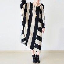 Beige striped cotton dresses oversized maxi dress unique style fall dresses