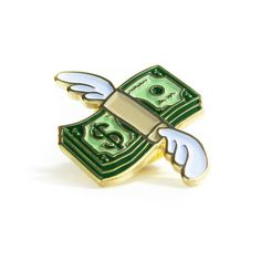 Flying Cash lapel pin from No Fun Press