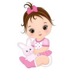 Illustration of Vector cute baby girl with toy bunny. Baby girl vector illustration vector art, clipart and stock vectors. My Baby Girl, Baby Girl Toys, Baby Girl Birthday, Toys For Girls, Baby Dolls, Clipart Baby, Cartoon Girl Images, Baby Cartoon, Baby Girl Drawing