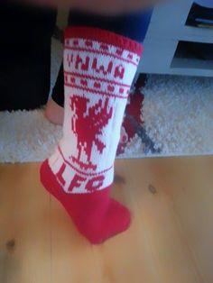 Babsy design YNKA ( you`ll never knit alone ) Wool Socks, Knitting Socks, Stocking Pattern, Liverpool Fc, Drink Sleeves, Mittens, Christmas Stockings, Needlework, Knitting Patterns